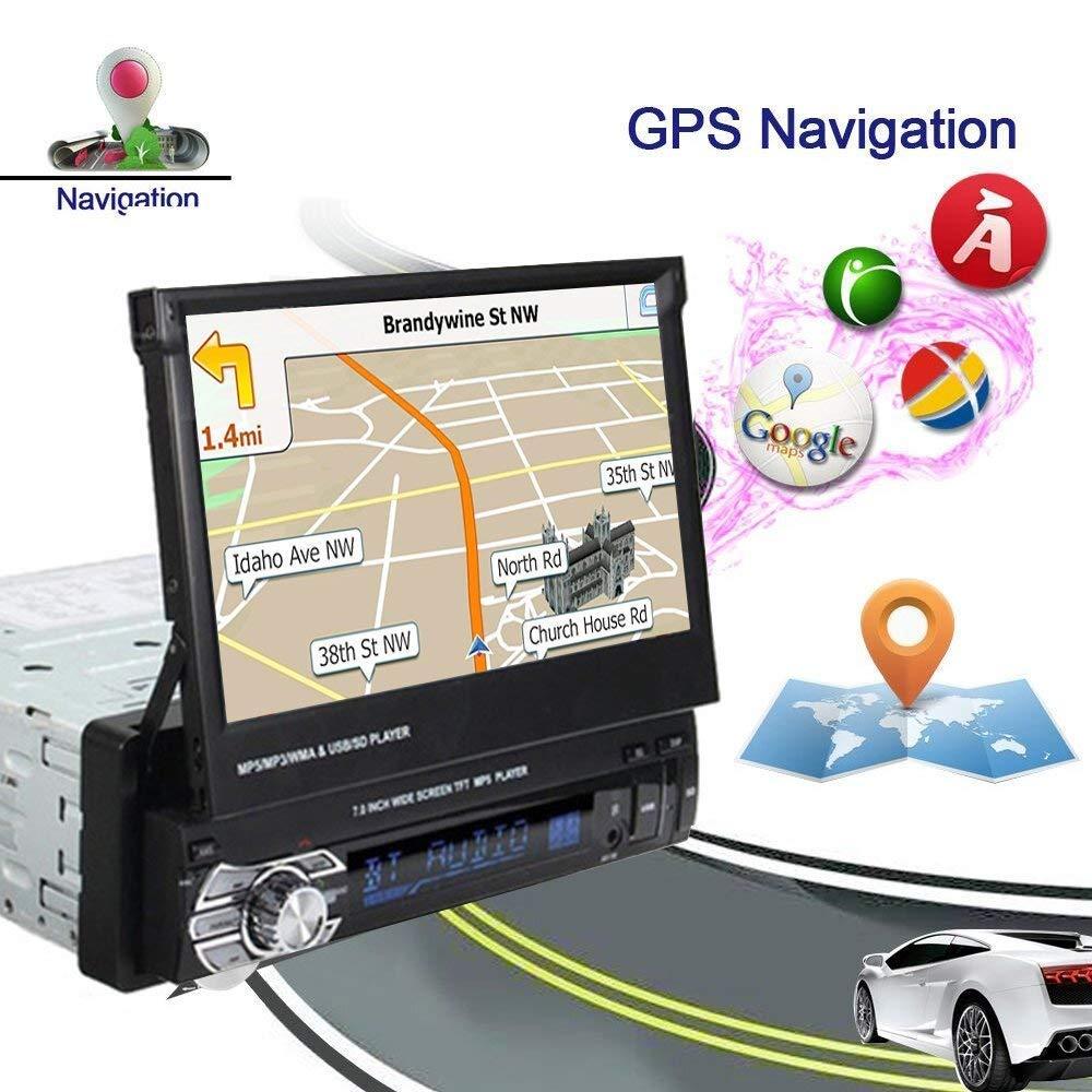 Reproductor MP5 para automóvil (1 radio estéreo DIN plegable HD de 7 pulgadas de pantalla táctil, unidad de GPS Sat Naval, cámara de visión nocturna ...