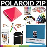 Polaroid ZIP Mobile Printer Gift Bundle+ ZINK Paper (30 Sheets) + 8x8'' Cloth Scrapbook + Pouch + 6 Edged Scissors + 100 Sticker Border Frames + Color Gel Pens + Hanging Frames + Accessories