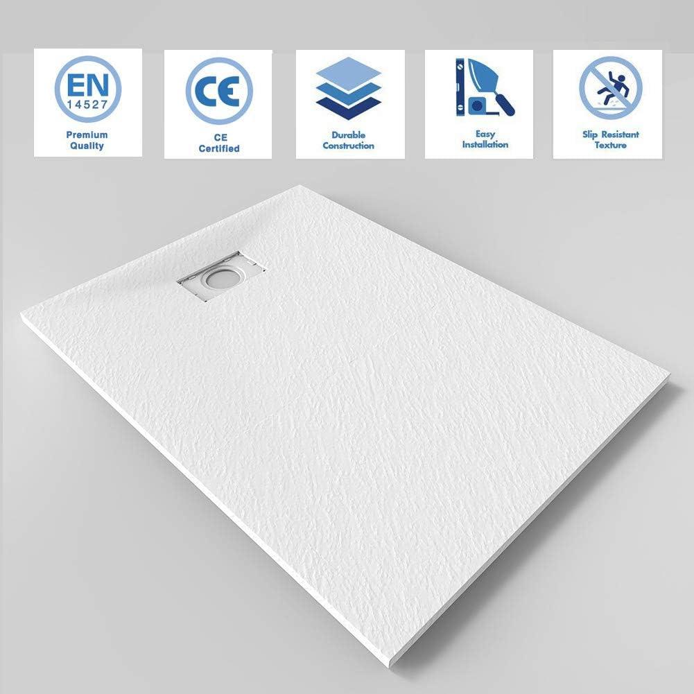 ELEGANT 1200x900mm White Slate Effect Lightweight Slate Shower Base Rectangular Grain Shower Enclosure Tray with Waste Trap
