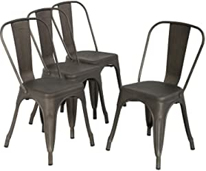 Patio Chairs 18 Inch Metal Dinning Chairs Set of 4 Stackable ChairsSeat Height Restaurant Chair Chic Metal Kitchen Dining Chairs Trattoria Chairs Indoor/Outdoor Metal Tolix Side Bar Chairs