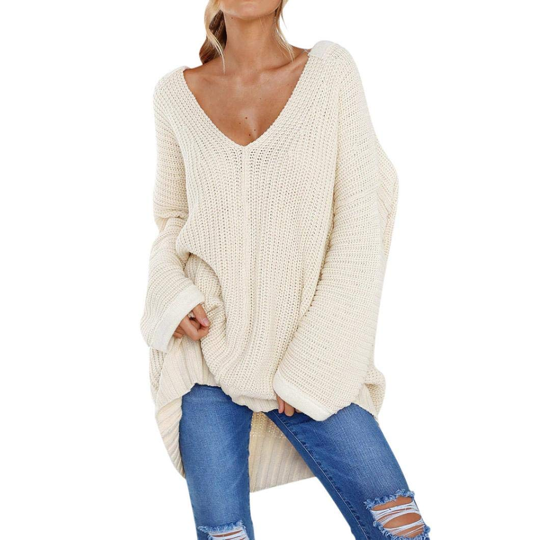 KFSO Womens Long Sleeve V Neck Loose Over Size Jumper Sweaters Blouse Tops (White, XL)