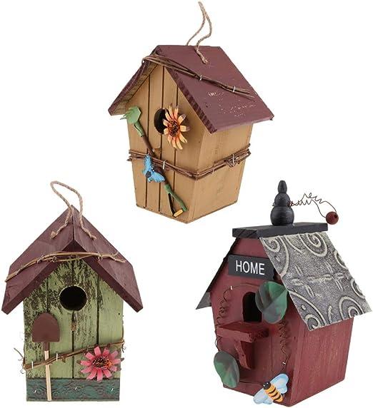 SM SunniMix - Juego de 3 Casitas Decorativas Colgantes para pájaros, Casas de Insectos, Casas de Hotel para balcón de jardín, Patio, Estilo Rural, Regalos de inauguración de la casa: Amazon.es: Jardín