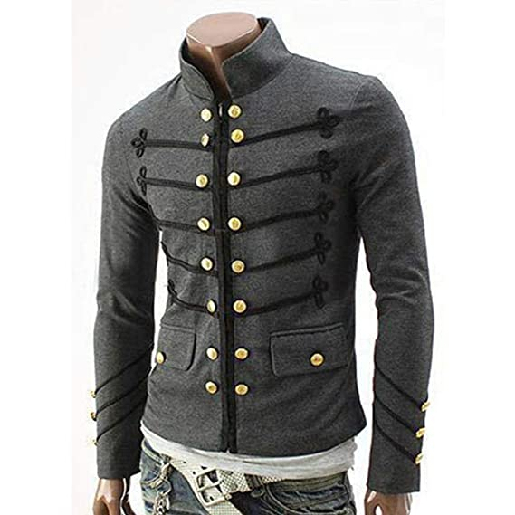 elegantstunning Men Vintage Military Jacket with Embroidered Buttons Solid Color Top Retro Uniform Cardigan at Amazon Mens Clothing store: