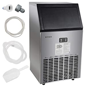 """ROVSUN Commercial Ice Maker Automatic Built-In Stainless Steel Under counter / Freestanding / Portable Ice Machine for Restaurant Bar, 33lbs Storage,100lbs/24h,5 Accessories, 18""""Lx16""""Wx31""""H, 115V"""