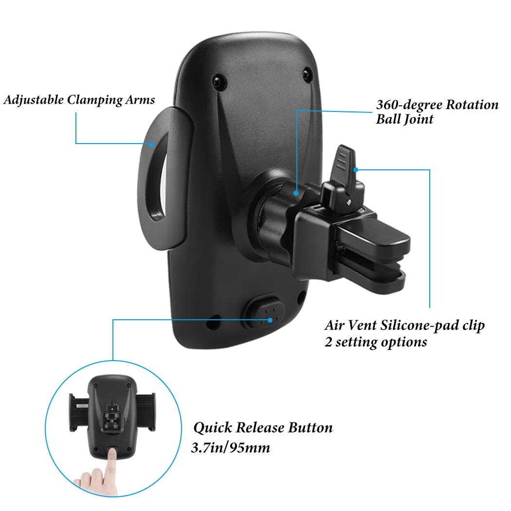 Car Phone Holder Galaxy S6//S7//S8//S9 and More Besiva 2-Pack Universal Air Vent Phone Holder for Car with Adjustable Car Phone Holder Cradle for iPhone Xs Max//XS//XR//X//8//8Plus//7//7Plus//6s//6Plus//5S