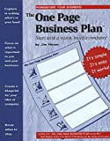 The One Page Business Plan, James T. Horan, 1891315072