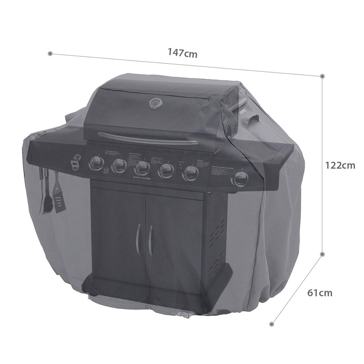 Gris 147 x 122 x 61cm Sekey Grill Cover Convient /à la Plupart des Marques de Gril Housse de Barbecue