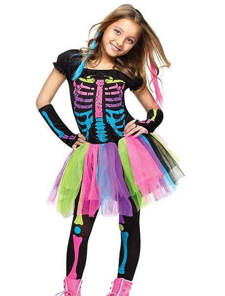 Odziezet Disfraz Halloween Niña Esqueleto 3 Piezas Falda de Tutu Arco Iris + Guante + Leggings 4-9 años