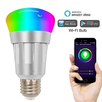 Amazon com: WiFi LED Smart Light Bulb Dimmable Color RGBW 7W