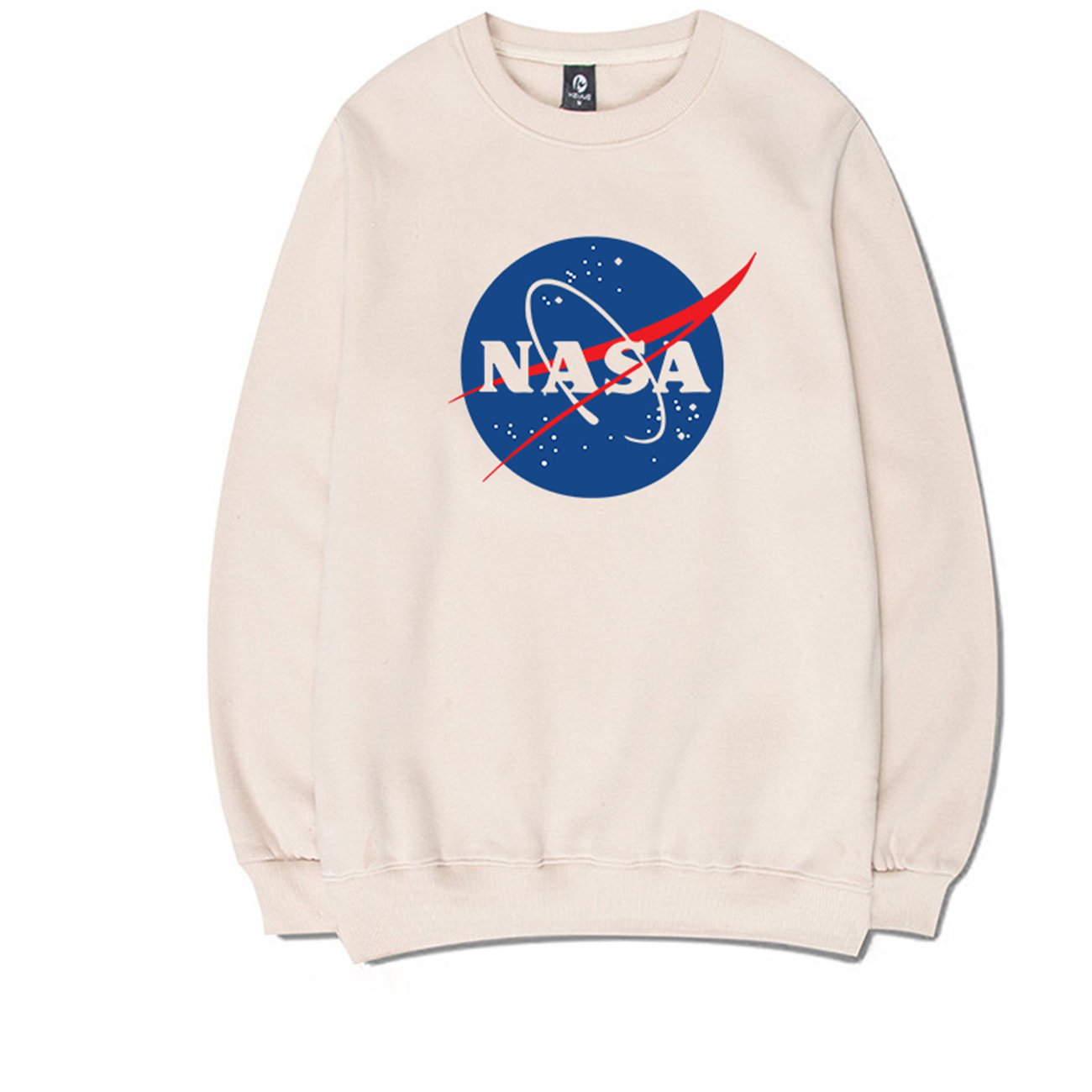 CORIRESHA Street Fashion Big Front NASA Logo Print Round Neck Long Sleeve Pull Over Sweatshirt