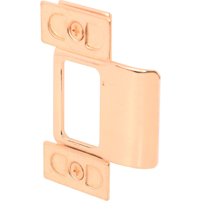 Prime-Line MP9486 Adjustable Door Strike, 2-1/8 in. Hole Spacing, Stamped Steel, Brass Plated, Pack of 2, 2 Piece