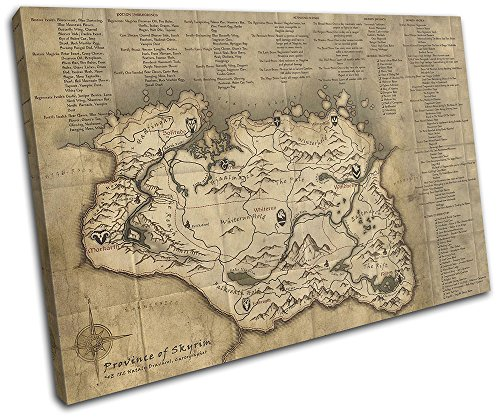 Bold Bloc Design - The Elder Scrolls Skyrim Map Gaming 45x30cm SINGLE Canvas Art Print Box Framed Picture Wall Hanging - Hand Made In The UK - Framed And Ready To Hang 13-2496(00B)-SG32-LO-A (Map Scroll)