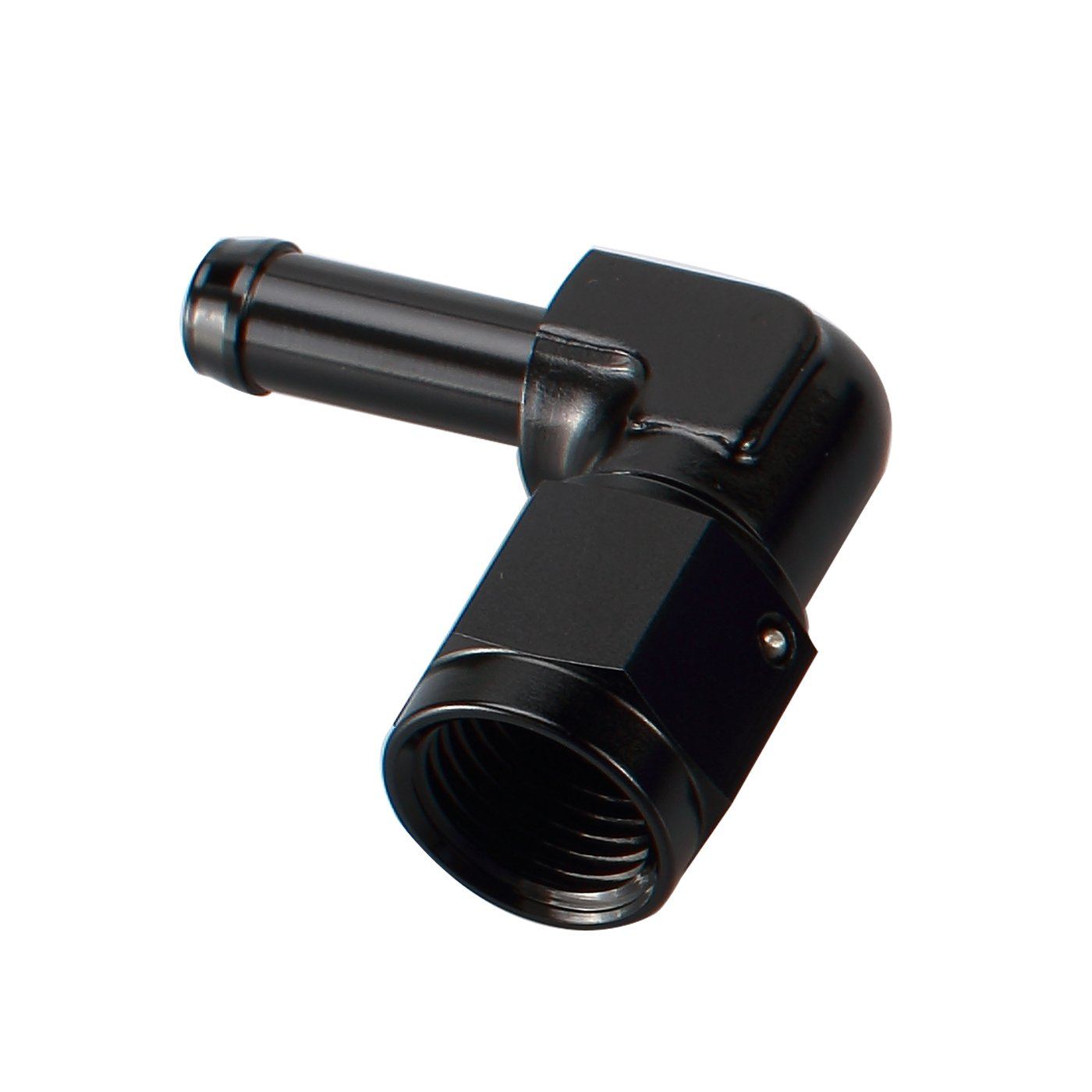 Female 6AN AN6 To 3/8 Barb 90 Degree Swivel Hose Fitting Aluminum Hose Barb Fuel Line Adapter Black Anodized