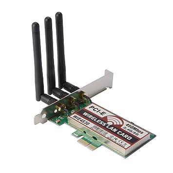 SODIAL 2.4G/5Ghz Wireless 450Mbps Tarjeta PCI-E WiFi Antena de red LAN Ethernet AC990