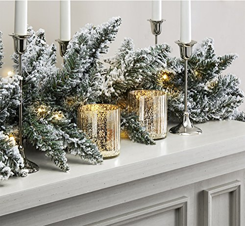 LampLust Pre-lit Flocked Pine Garland with Warm White LEDs | 9 ft, 100 Lights, Connectable, Plugin, UL Listed