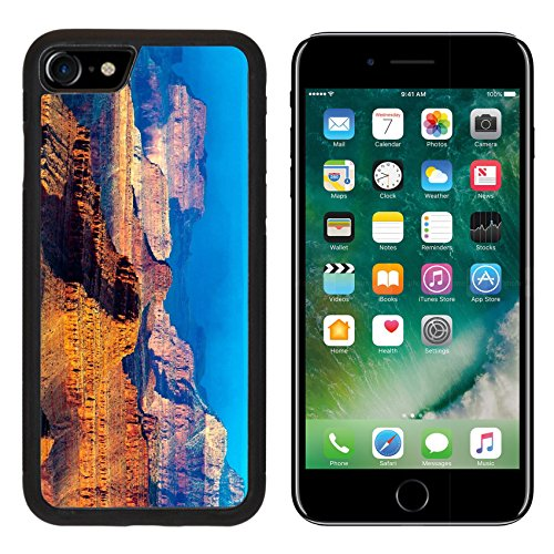 MSD Premium Apple iPhone 7 iPhone7 Aluminum Backplate Bumper Snap Case Mountainous terrain of the Grand Canyon in the rays of the rising sun in the morning haze of blue sky IMAGE 26764718