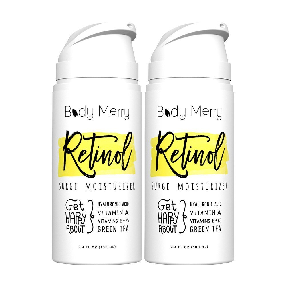 Body Merry Retinol Surge Moisturizer, 2-Pack: All in one anti aging / wrinkle & acne face cream w natural Hyaluronic Acid + Vitamins for day & night - Perfect for men & women for deep hydration & care by Body Merry (Image #2)