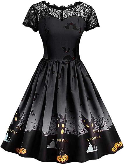Kolylong® damska elegancka koronka okrągły dekolt krÓtki rękaw rockabilly linia siateczkowa sukienka Halloween nadruk koronkowa sukienka vintage Swing sukienka w talii składana wieczorowa minisukienka