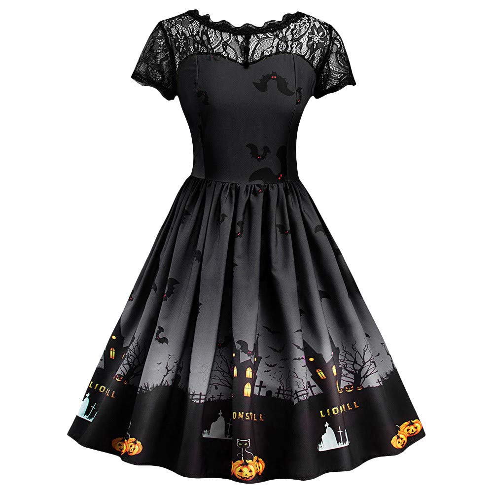 Women Halloween Party Dress 2019 Elegant Print Short Sleeve Ladies Mini Dresses Vintage Midi Dress Women Clothes(Black, L) by EINCcm
