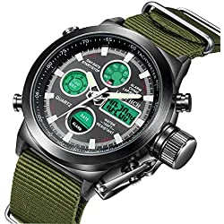 Mens Black Big Face Sports Watch, LED Digital Analog Waterproof Military Luminous Stopwatch Army Green Wrist Watch
