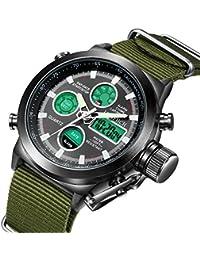Mens Black Big Face Sports Watch, LED Digital Analog Waterproof Military Luminous Stopwatch Army Green Wrist Watch