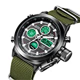 LYMFHCH Big Face Sports Watch for Men, Waterproof Watch,Military Multifunction LED Date Chronograph Green Canvas Band Wrist Watch