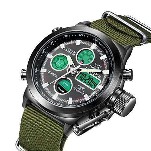 Mens Multifunction Analog - LYMFHCH Mens Black Big Face Sports Watches Men LED Digital Analog Waterproof Military Multifunction Army Green Wrist Watch