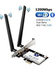 Hommie AC1200Mbps Bluetooth 4.2 WiFi Card 5GHz/2.4GHz Dual-Band WiFi Adapter, Wireless Gigabit PCI Express Network Adapter WiFi Network Card for Desktop/PC Win7/8/10, Linux4.2+
