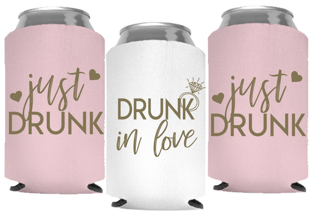 Drunk In Love and Just Drunk Bachelorette Party Can Coolers, Set of 12 White and Mint Green Beer Can Coolies, Perfect Bachelorette Party Decorations and Brides Maid Gifts (Blush Pink) by Your Dream Party Shop (Image #1)