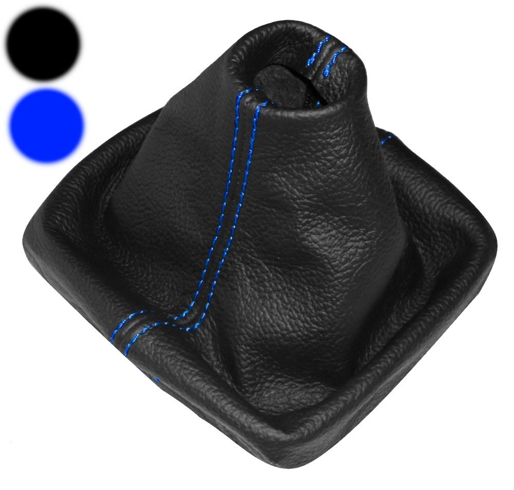Aerzetix - Cuffia leva di cambio 100% vera pelle nera con cuciture blu NIK-POLO9N3-MSK-02-09
