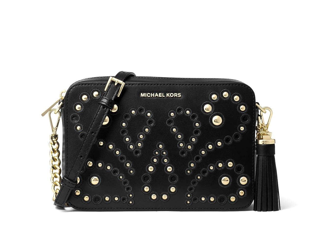 5f07595ea117 MICHAEL Michael Kors Ginny Medium Embellished Leather Camera Crossbody in  Black  Handbags  Amazon.com