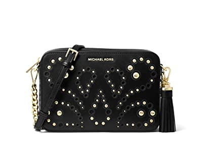 8e36526bb Image Unavailable. Image not available for. Color: MICHAEL Michael Kors  Ginny Medium Embellished Leather Camera Crossbody in Black