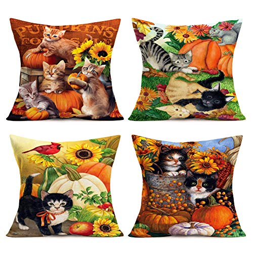 "Throw Pillow Covers Adorable Animal Cat with Pumpkin Sunflower Garden Decorative Pillow Covers 4Pack Cotton Linen Autumn Fall Throw Pillow Case Home Farmhouse Decor Cushion Cover 18""x18"" (Cat Pumpkin) from Royalours"