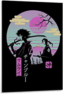 Retrowave Anime Samurai Champloo Retro Vibe Canvas Art Poster and Wall Art Picture Print Modern Family Bedroom Decor Posters 12x18inch(30x45cm)
