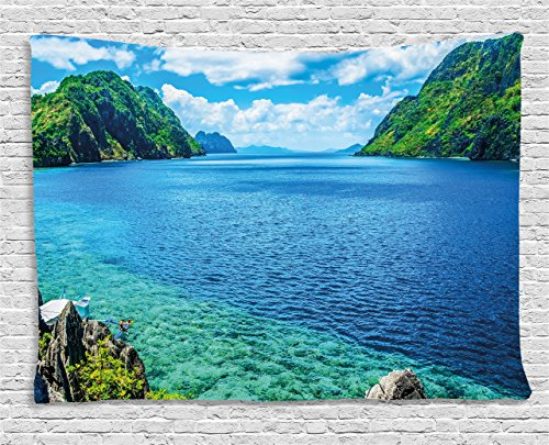 Island Bedroom - Ambesonne Nature Tapestry, Scenic View Sea Bay and Mountain Islands in Palawan Philippines Idyllic Image, Wall Hanging for Bedroom Living Room Dorm, 80 W X 60 L inches, Blue Green White