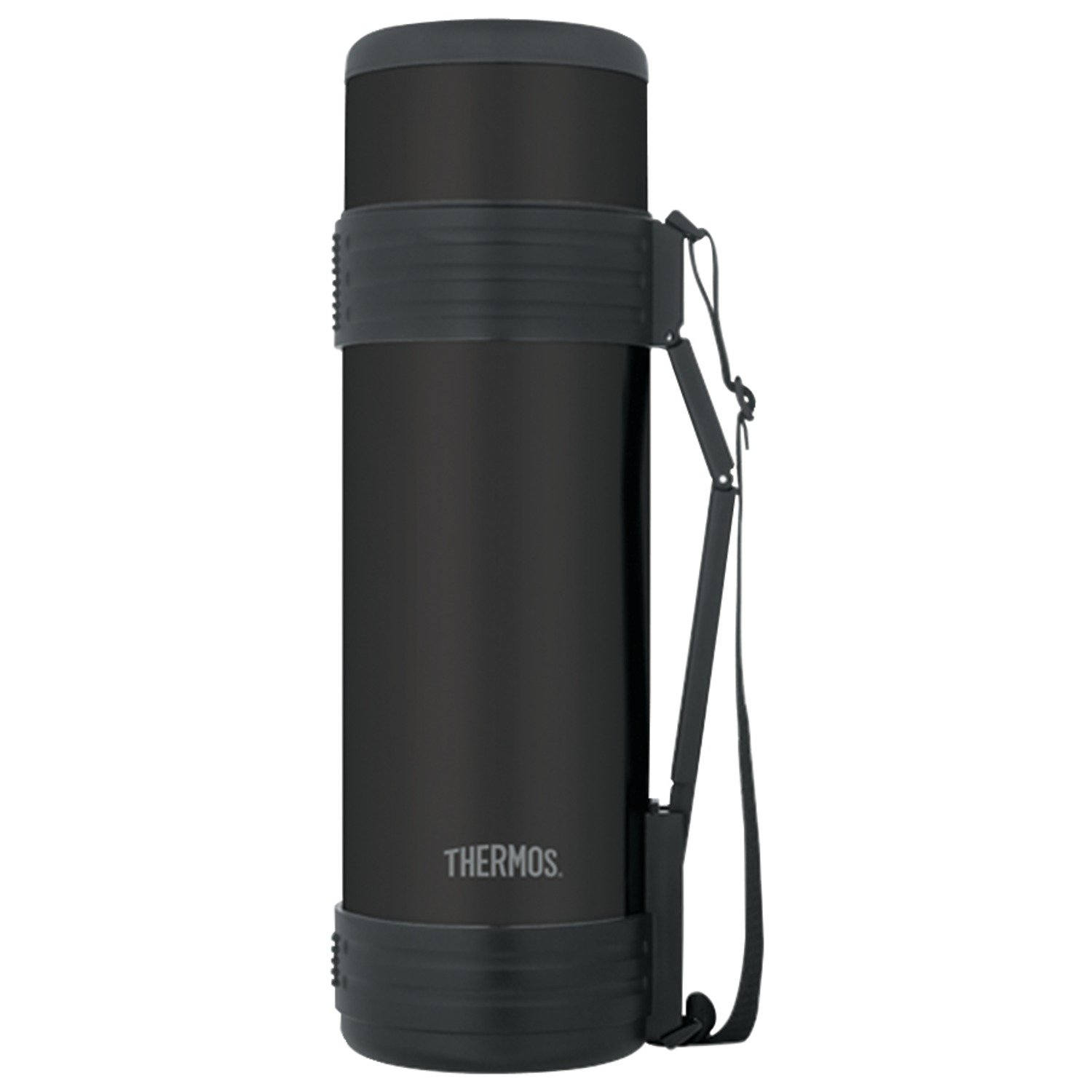 Thermos 61 Ounce Vacuum Insulated Beverage Bottle with Folding Handle, Matte Black by Thermos