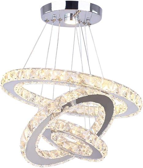 20+40+60 cm LED Modern Crystal Chandeliers 3 Ringe LED-Deckenleuchte Verstellbare Edelstahl-Pendelleuchte f/ür Schlafzimmer Wohnzimmer Esszimmer