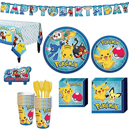 Pokemon Core Birthday Party Kit, Includes Happy Birthday Banner and Birthday Candles, Serves 16, by Party City]()