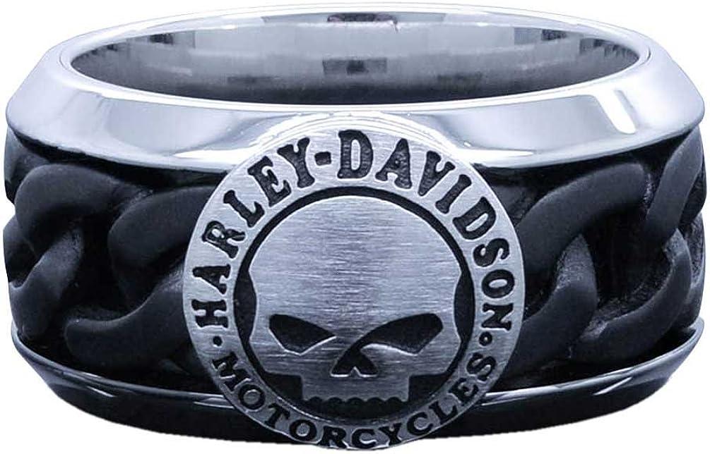 Harley-Davidson Men's Black Steel Chain Willie G Skull H-D Ring HSR0030