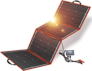 DOKIO 150w Solar Panel Kit Portable Folding Monocrystalline Include Solar Charge Controller and PV Cable for 12v Battery Charging Camper RV Van