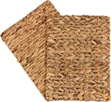 16'x 12' Rectangular Woven Indoor or Outdoor Placemats of Natural Water Hyacinth by Trademark Innovations (Set of 2)