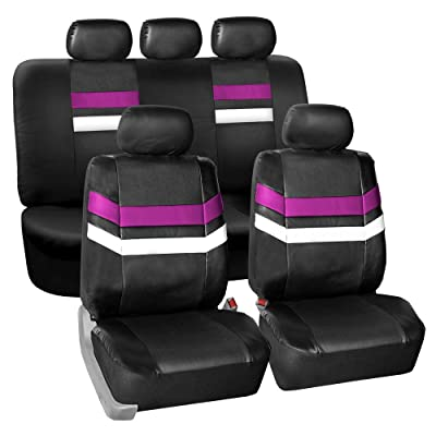 FH Group Leather Full Set Seat Covers Purple Airbag Safe PU006PURPLE115 & Split Bench Ready: Automotive