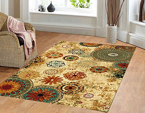 Contemporary Floral Bright Color Multi Color Area Rug Anti Bacterial Rubber  Back AREA RUGS Non Skid By Furnishmyplace 5x8