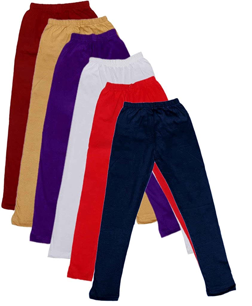 Pack of 6 -Multiple Colors-5-6 Years Indistar Big Girls Cotton Full Ankle Length Solid Leggings