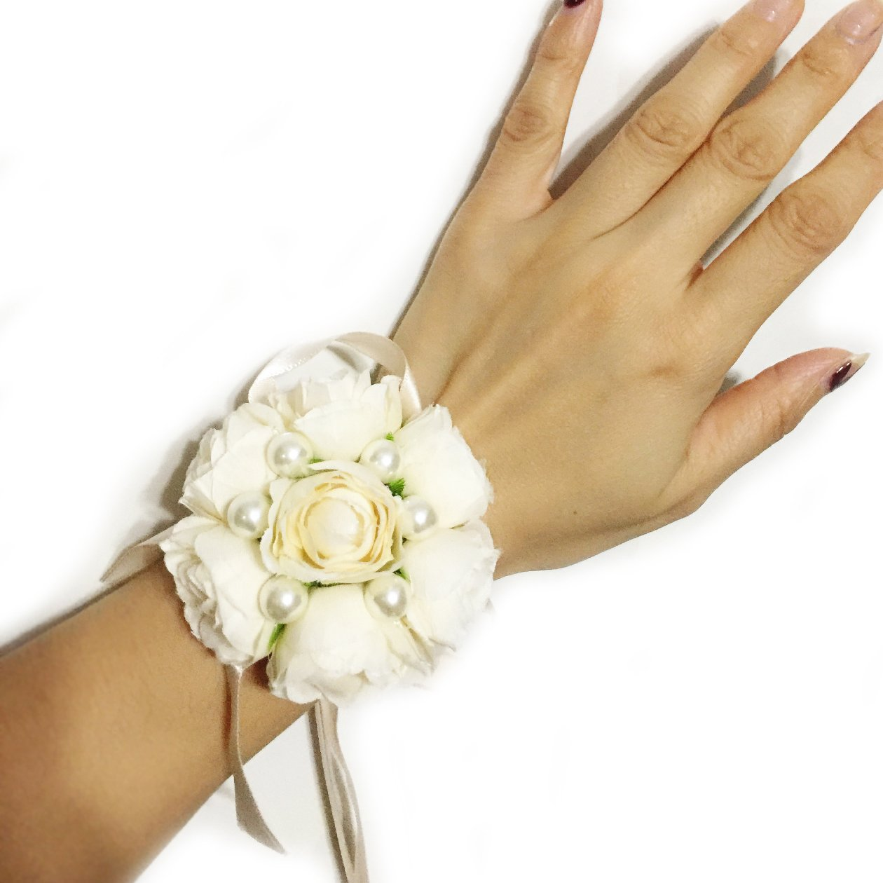 One-One-Bridal-Wedding-Bridal-Women-Girl-Bridesmaid-Exquisite-Floral-Hand-Wrist-Flower-T1218-Champagne