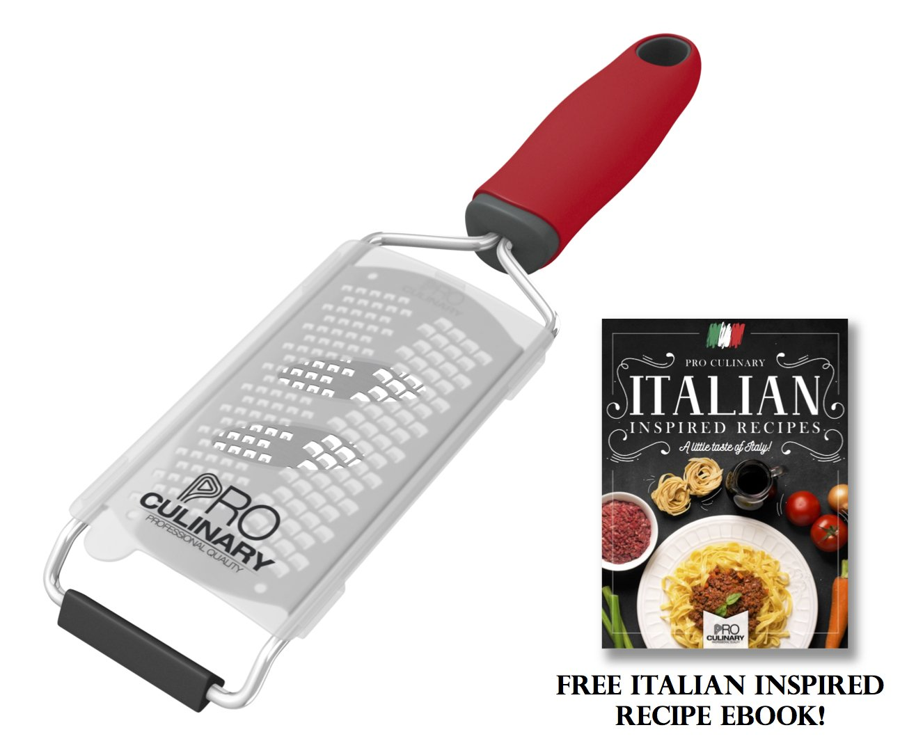 Pro Culinary Zester Grater - Professional Hand Held Stainless Steel Fine Grater With Silicone Handle And Blade Protector - Dishwasher Safe - Red - Free Ebook