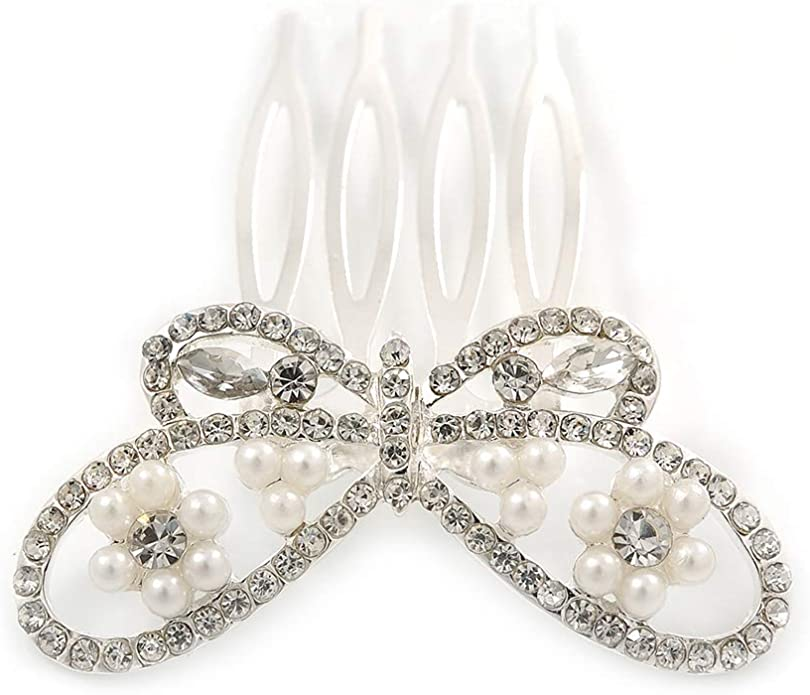 Brand New Wedding Bridal Clear Rhinestones Crystal Silver Prom Party Heart Hair Comb