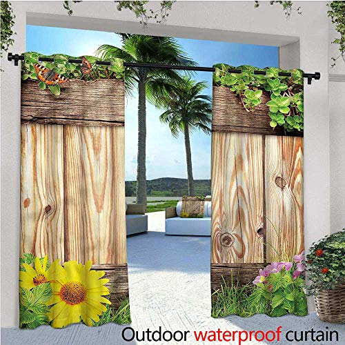 warmfamily Wooden Outdoor- Free Standing Outdoor Privacy Curtain Garden Fence Butterfly for Front Porch Covered Patio Gazebo Dock Beach Home W72 x L96
