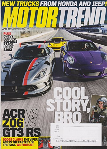 Motor Trend April 2016 ACR vs Z06 vs GT3 RS