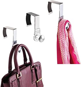mDesign Modern Metal and Plastic Office Over The Cubicle Storage Organizer Hooks - Wall Panel Hangers for Hanging Accessories, Coats, Hats, Purses, Bags, Keychain - 3 Pack - Clear/Brushed